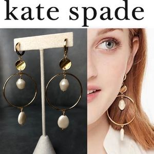 kate spade new york Hoop Gold Pearl Earrings